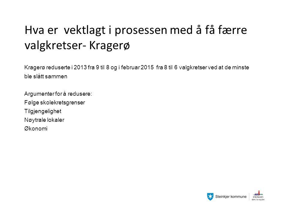Hva er vektlagt i prosessen med å få færre valgkretser- Kragerø Kragerø reduserte i 2013 fra 9 til 8 og i februar 2015 fra 8 til 6 valgkretser ved at de minste ble slått sammen Argumenter for å redusere: Følge skolekretsgrenser Tilgjengelighet Nøytrale lokaler Økonomi