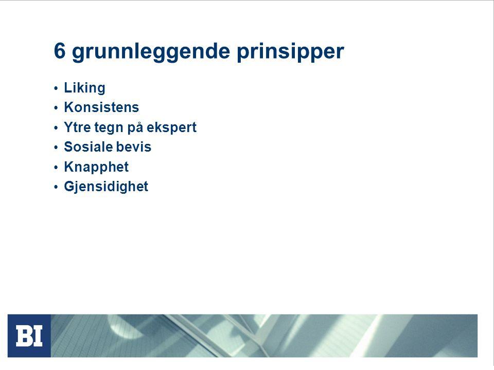 6 grunnleggende prinsipper Liking Konsistens Ytre tegn på ekspert Sosiale bevis Knapphet Gjensidighet