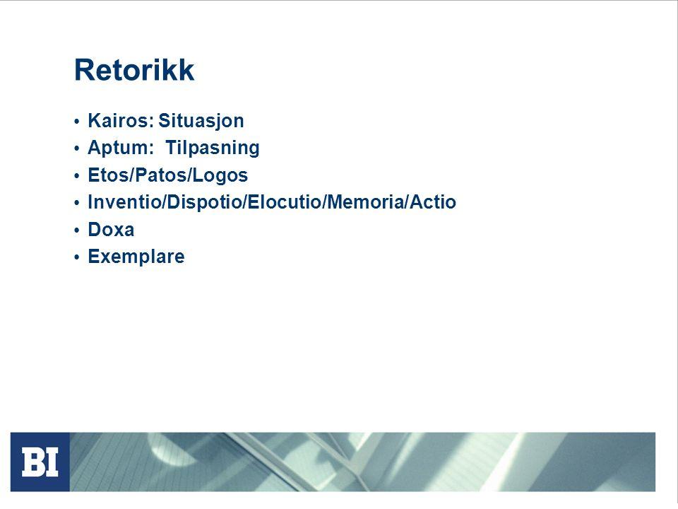 Retorikk Kairos: Situasjon Aptum: Tilpasning Etos/Patos/Logos Inventio/Dispotio/Elocutio/Memoria/Actio Doxa Exemplare