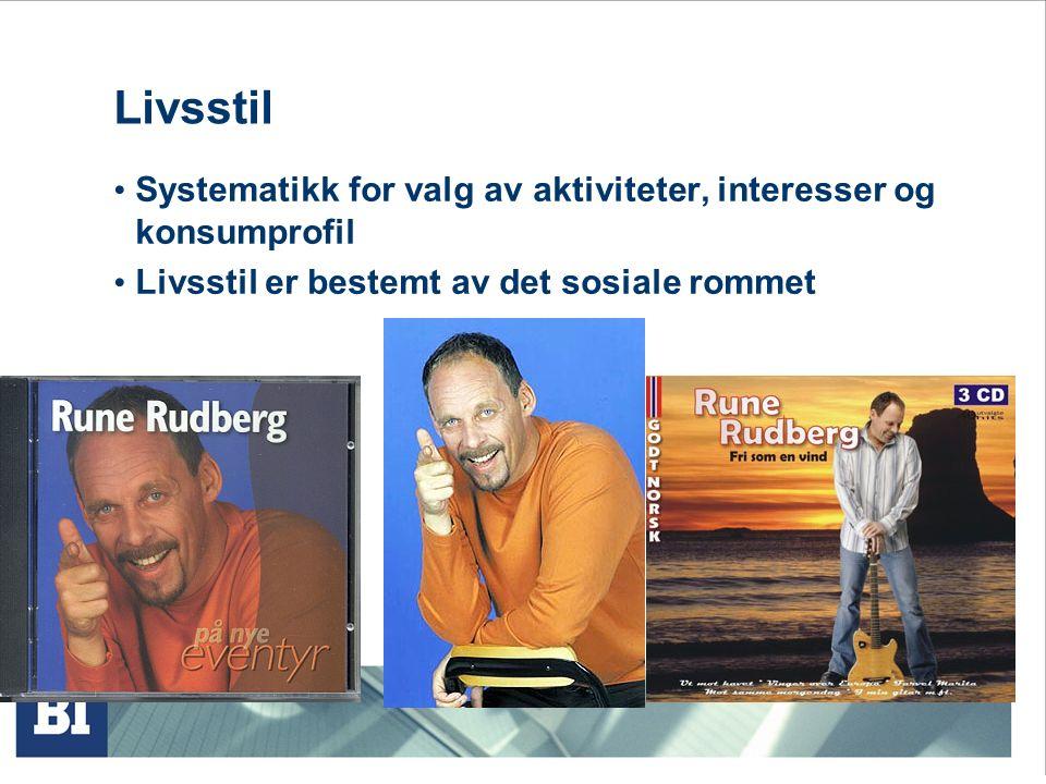 Livsstil Systematikk for valg av aktiviteter, interesser og konsumprofil Livsstil er bestemt av det sosiale rommet