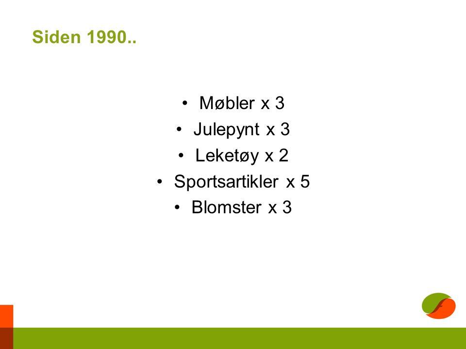 Siden 1990.. Møbler x 3 Julepynt x 3 Leketøy x 2 Sportsartikler x 5 Blomster x 3