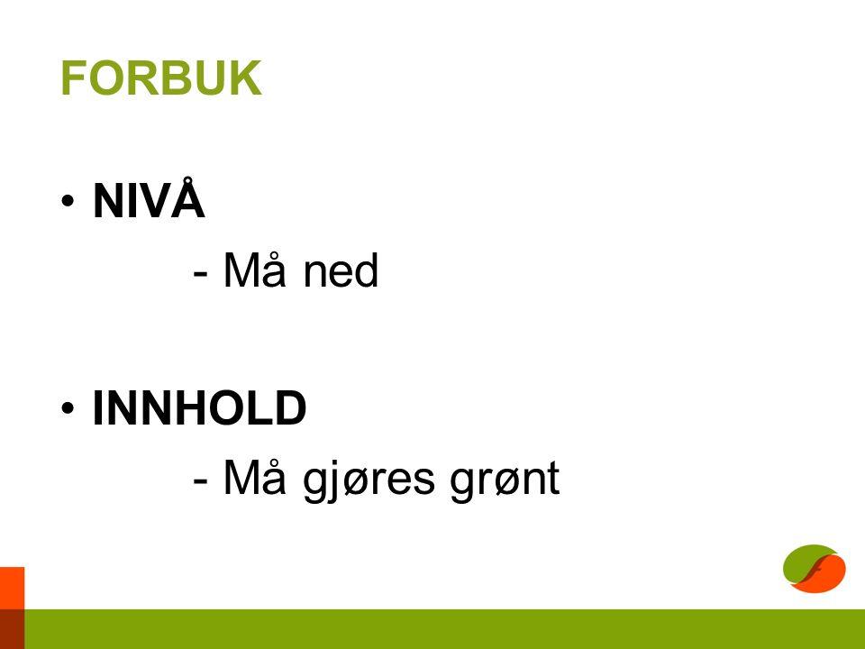 FORBUK NIVÅ - Må ned INNHOLD - Må gjøres grønt
