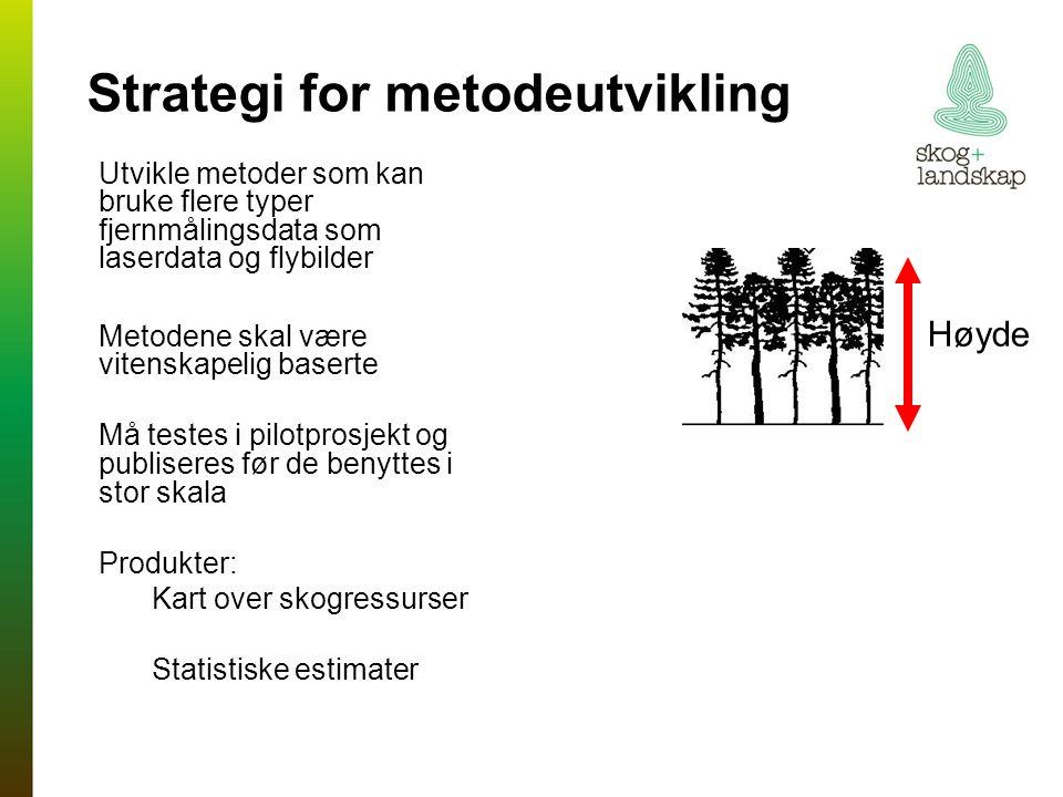 Strategi for metodeutvikling Utvikle metoder som kan bruke flere typer fjernmålingsdata som laserdata og flybilder Metodene skal være vitenskapelig baserte Må testes i pilotprosjekt og publiseres før de benyttes i stor skala Produkter: Kart over skogressurser Statistiske estimater Høyde
