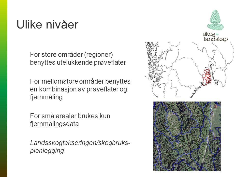 Ulike nivåer For store områder (regioner) benyttes utelukkende prøveflater For mellomstore områder benyttes en kombinasjon av prøveflater og fjernmåling For små arealer brukes kun fjernmålingsdata Landsskogtakseringen/skogbruks- planlegging