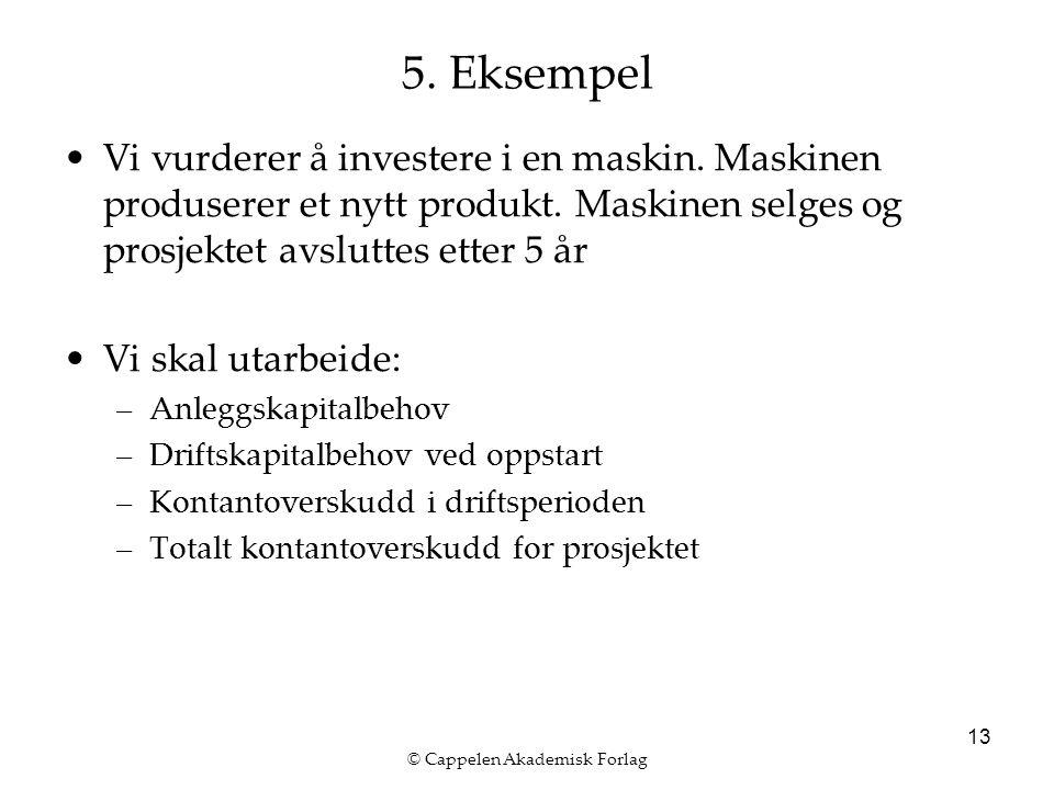 © Cappelen Akademisk Forlag 13 5. Eksempel Vi vurderer å investere i en maskin. Maskinen produserer et nytt produkt. Maskinen selges og prosjektet avs