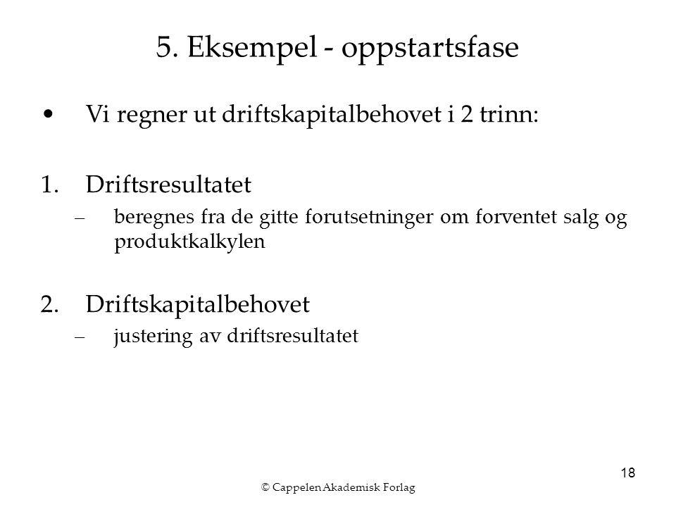 © Cappelen Akademisk Forlag 18 5. Eksempel - oppstartsfase Vi regner ut driftskapitalbehovet i 2 trinn: 1.Driftsresultatet –beregnes fra de gitte foru