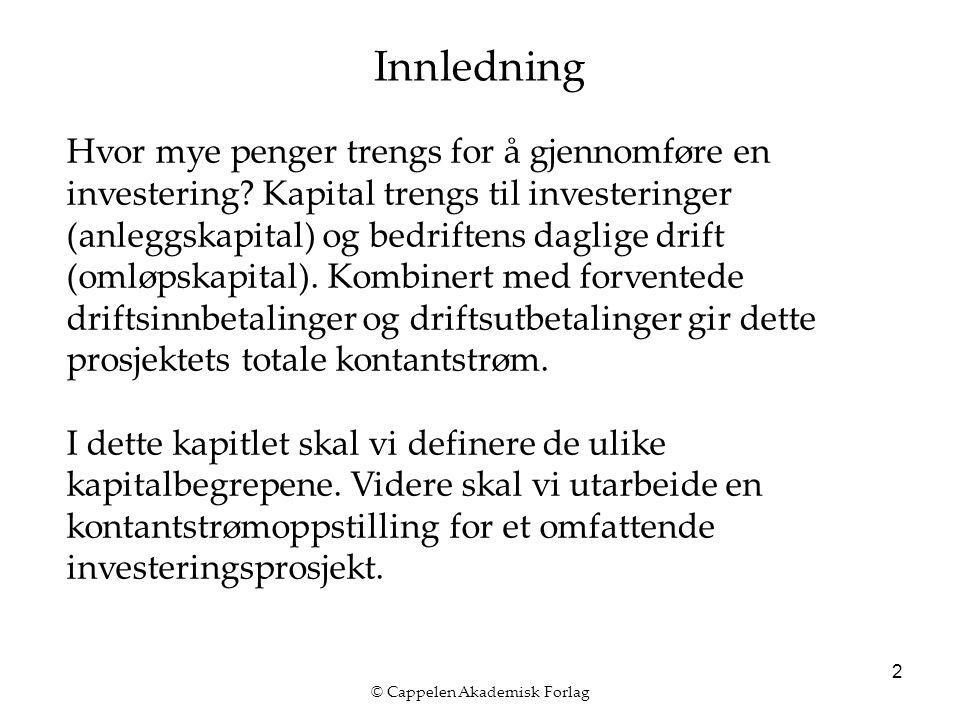 © Cappelen Akademisk Forlag 2 Innledning Hvor mye penger trengs for å gjennomføre en investering? Kapital trengs til investeringer (anleggskapital) og