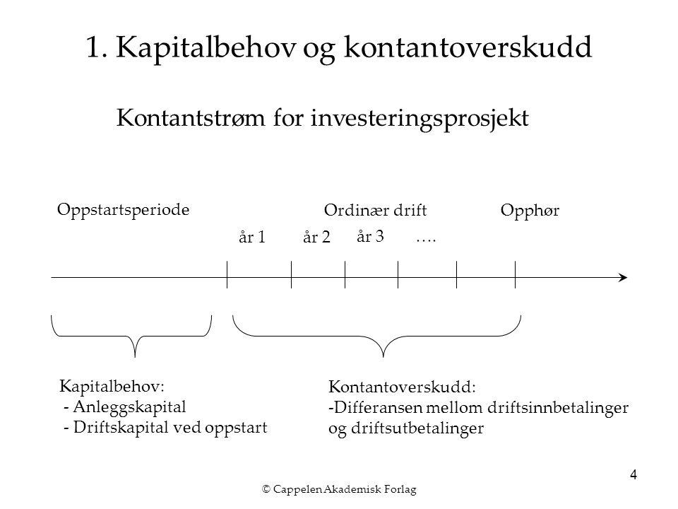 © Cappelen Akademisk Forlag 4 1. Kapitalbehov og kontantoverskudd år 1år 2 år 3…. Oppstartsperiode Ordinær drift Kapitalbehov: - Anleggskapital - Drif
