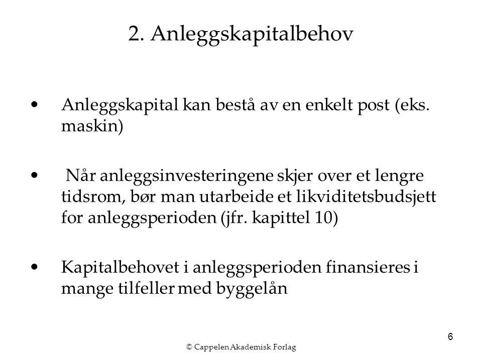 © Cappelen Akademisk Forlag 6 2. Anleggskapitalbehov Anleggskapital kan bestå av en enkelt post (eks. maskin) Når anleggsinvesteringene skjer over et