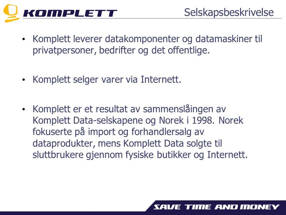 Selskapsbeskrivelse Komplett leverer datakomponenter og datamaskiner til privatpersoner, bedrifter og det offentlige.