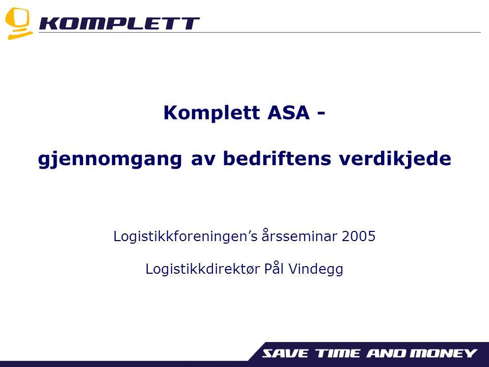 Komplett ASA - gjennomgang av bedriftens verdikjede Logistikkforeningen's årsseminar 2005 Logistikkdirektør Pål Vindegg