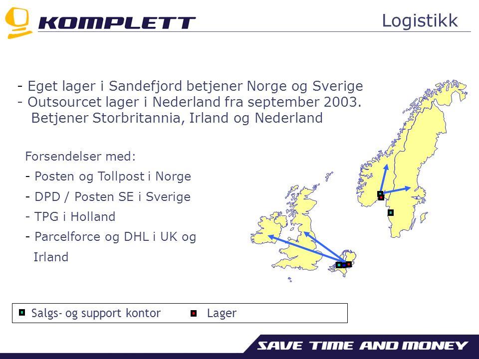 - Eget lager i Sandefjord betjener Norge og Sverige - Outsourcet lager i Nederland fra september 2003.