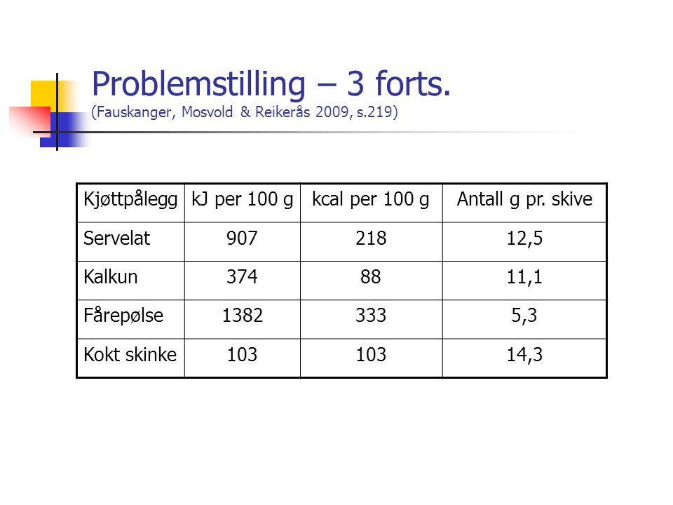 Problemstilling – 3 forts. (Fauskanger, Mosvold & Reikerås 2009, s.219) KjøttpåleggkJ per 100 gkcal per 100 gAntall g pr. skive Servelat90721812,5 Kal