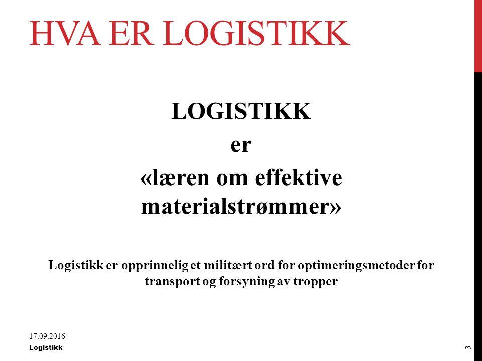 AGENDA FOR DAGEN Logistikk og materialadministrasjon ABC-analyse og forsyningsteknikker E-handel Spesifikasjonsmetoder 17.09.2016 Logistikk 2