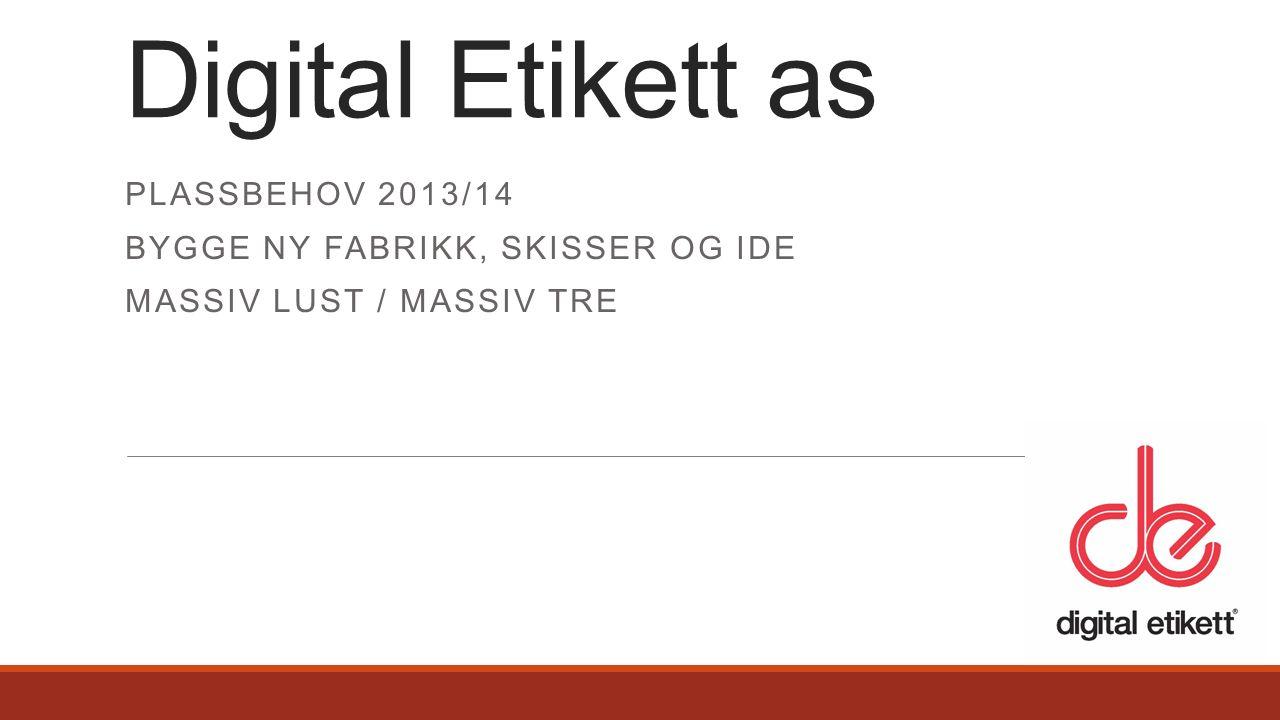PLASSBEHOV 2013/14 BYGGE NY FABRIKK, SKISSER OG IDE MASSIV LUST / MASSIV TRE Digital Etikett as