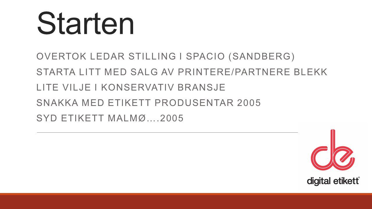 OVERTOK LEDAR STILLING I SPACIO (SANDBERG) STARTA LITT MED SALG AV PRINTERE/PARTNERE BLEKK LITE VILJE I KONSERVATIV BRANSJE SNAKKA MED ETIKETT PRODUSENTAR 2005 SYD ETIKETT MALMØ….2005 Starten