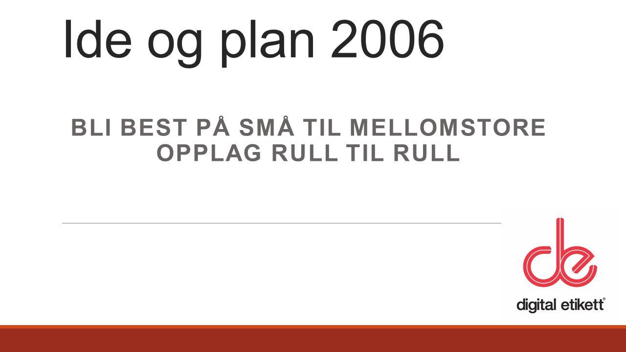 BLI BEST PÅ SMÅ TIL MELLOMSTORE OPPLAG RULL TIL RULL Ide og plan 2006