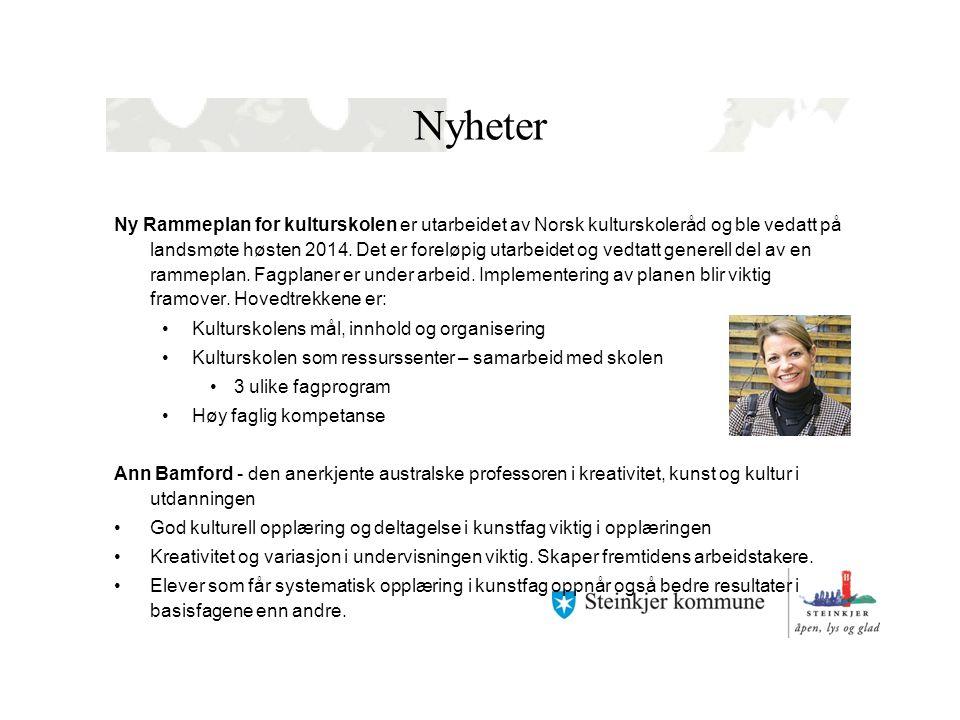 Nyheter Ny Rammeplan for kulturskolen er utarbeidet av Norsk kulturskoleråd og ble vedatt på landsmøte høsten 2014.