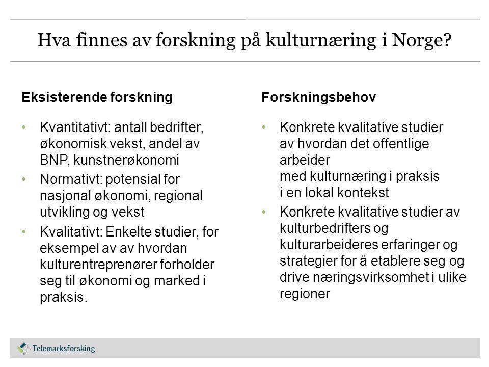 Hva finnes av forskning på kulturnæring i Norge.