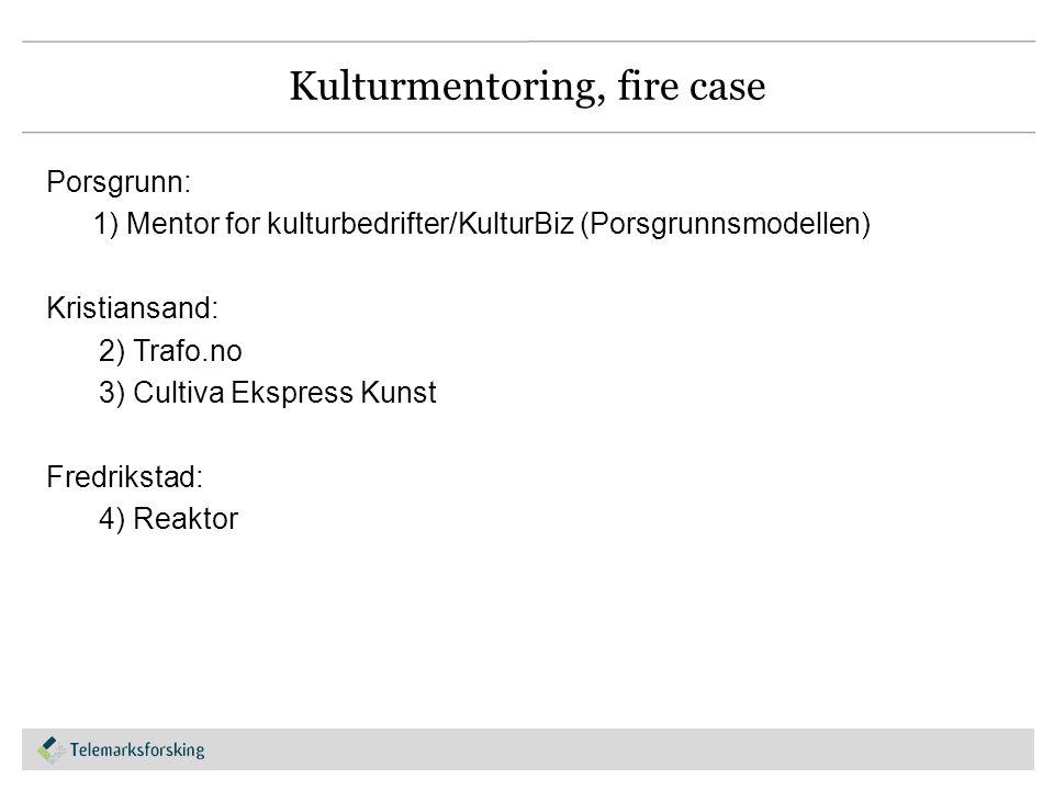 Kulturmentoring, fire case Porsgrunn: 1) Mentor for kulturbedrifter/KulturBiz (Porsgrunnsmodellen) Kristiansand: 2) Trafo.no 3) Cultiva Ekspress Kunst Fredrikstad: 4) Reaktor