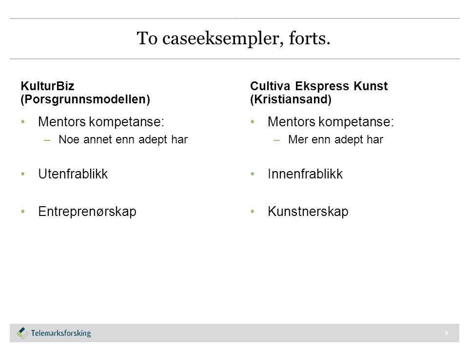 To caseeksempler, forts. KulturBiz (Porsgrunnsmodellen) Mentors kompetanse: –Noe annet enn adept har Utenfrablikk Entreprenørskap Cultiva Ekspress Kun