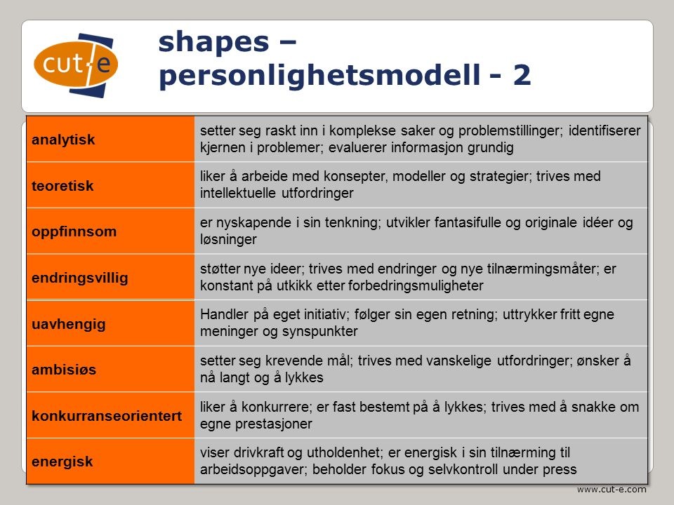 www.cut-e.com shapes – personlighetsmodell - 2