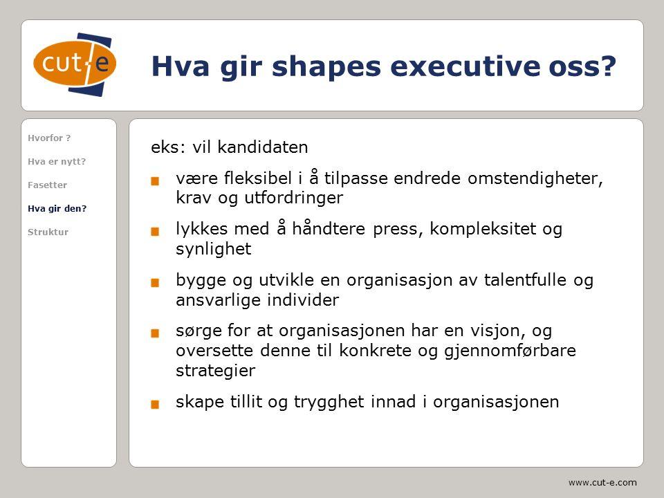 www.cut-e.com Hva gir shapes executive oss? eks: vil kandidaten være fleksibel i å tilpasse endrede omstendigheter, krav og utfordringer lykkes med å