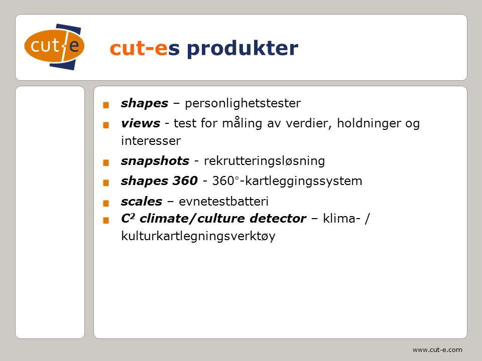 www.cut-e.com cut-es produkter shapes – personlighetstester views - test for måling av verdier, holdninger og interesser snapshots - rekrutteringsløsn