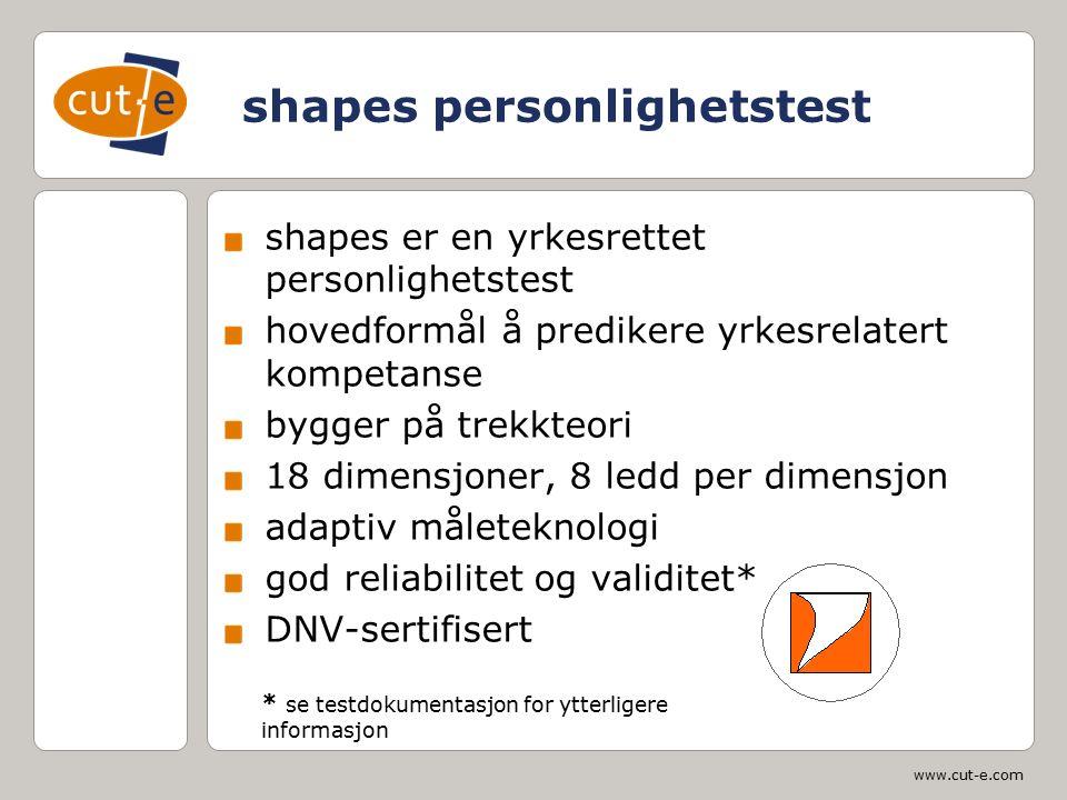 www.cut-e.com shapes personlighetstest shapes er en yrkesrettet personlighetstest hovedformål å predikere yrkesrelatert kompetanse bygger på trekkteor