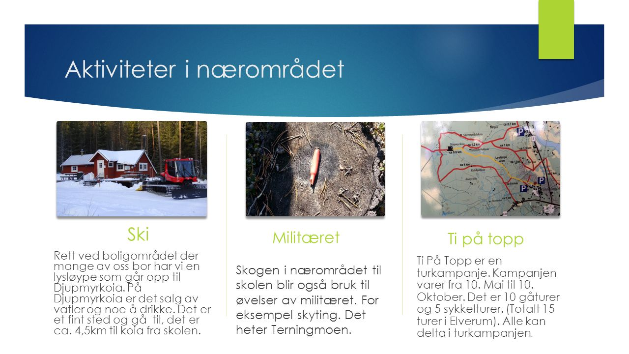 Aktiviteter i nærområdet Ski Rett ved boligområdet der mange av oss bor har vi en lysløype som går opp til Djupmyrkoia. På Djupmyrkoia er det salg av