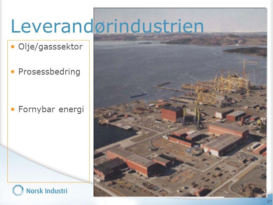 27 Olje/gasssektor Prosessbedring Fornybar energi Leverandørindustrien