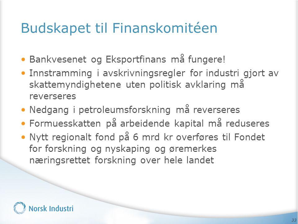 33 Budskapet til Finanskomitéen Bankvesenet og Eksportfinans må fungere.