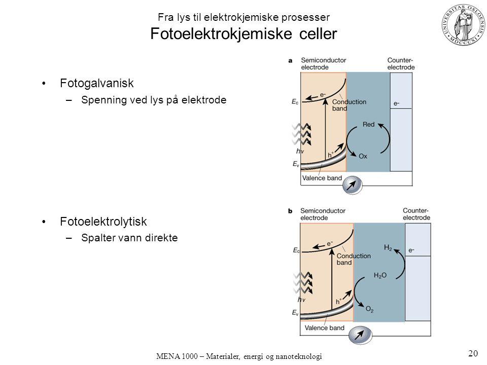 MENA 1000 – Materialer, energi og nanoteknologi Fra lys til elektrokjemiske prosesser Fotoelektrokjemiske celler Fotogalvanisk –Spenning ved lys på elektrode Fotoelektrolytisk –Spalter vann direkte 20