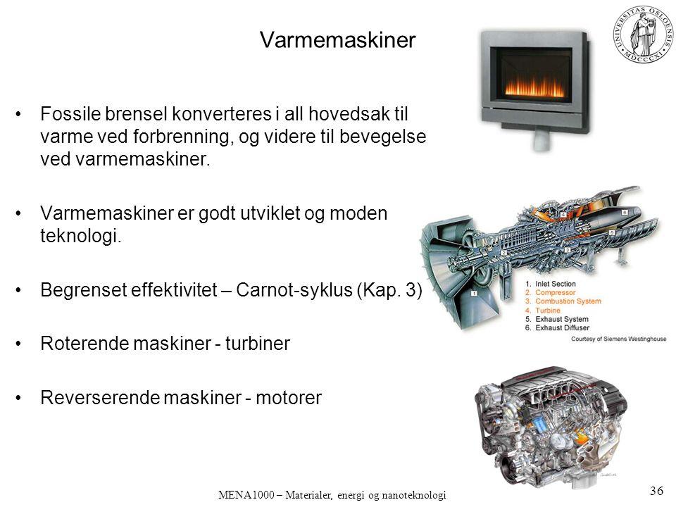 Varmemaskiner Fossile brensel konverteres i all hovedsak til varme ved forbrenning, og videre til bevegelse ved varmemaskiner.
