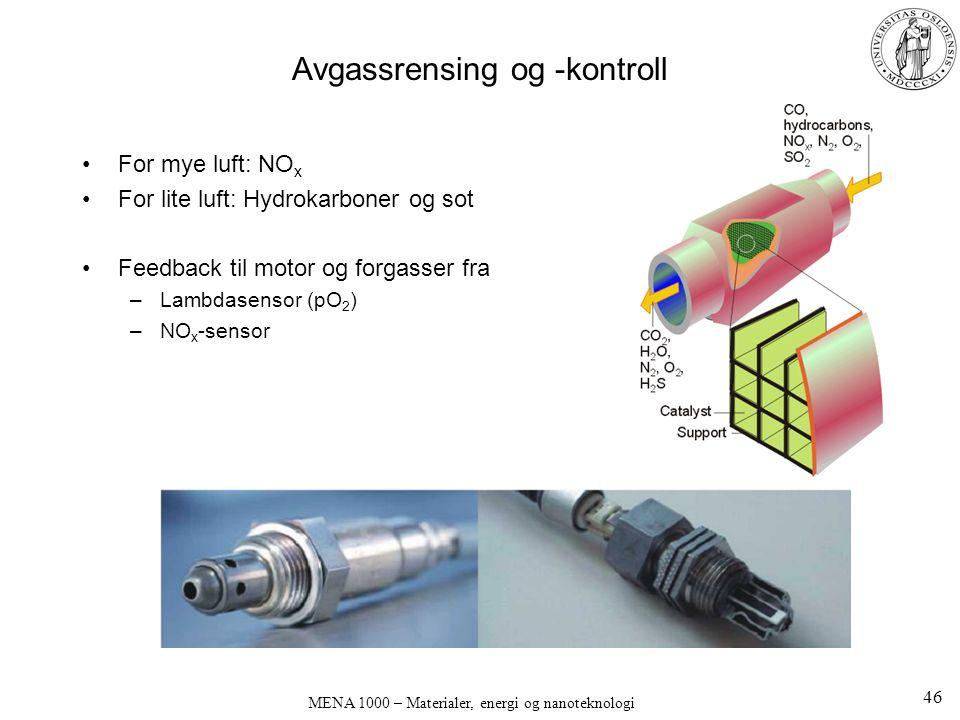 MENA 1000 – Materialer, energi og nanoteknologi Avgassrensing og -kontroll For mye luft: NO x For lite luft: Hydrokarboner og sot Feedback til motor og forgasser fra –Lambdasensor (pO 2 ) –NO x -sensor 46