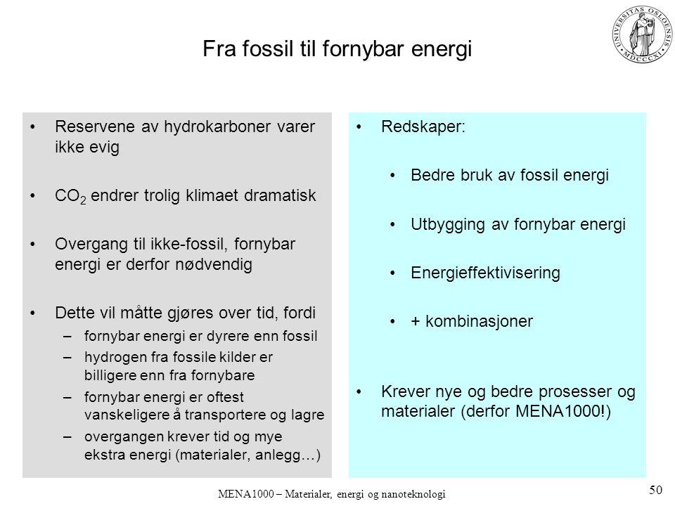 MENA1000 – Materialer, energi og nanoteknologi Fra fossil til fornybar energi Reservene av hydrokarboner varer ikke evig CO 2 endrer trolig klimaet dramatisk Overgang til ikke-fossil, fornybar energi er derfor nødvendig Dette vil måtte gjøres over tid, fordi –fornybar energi er dyrere enn fossil –hydrogen fra fossile kilder er billigere enn fra fornybare –fornybar energi er oftest vanskeligere å transportere og lagre –overgangen krever tid og mye ekstra energi (materialer, anlegg…) Redskaper: Bedre bruk av fossil energi Utbygging av fornybar energi Energieffektivisering + kombinasjoner Krever nye og bedre prosesser og materialer (derfor MENA1000!) 50