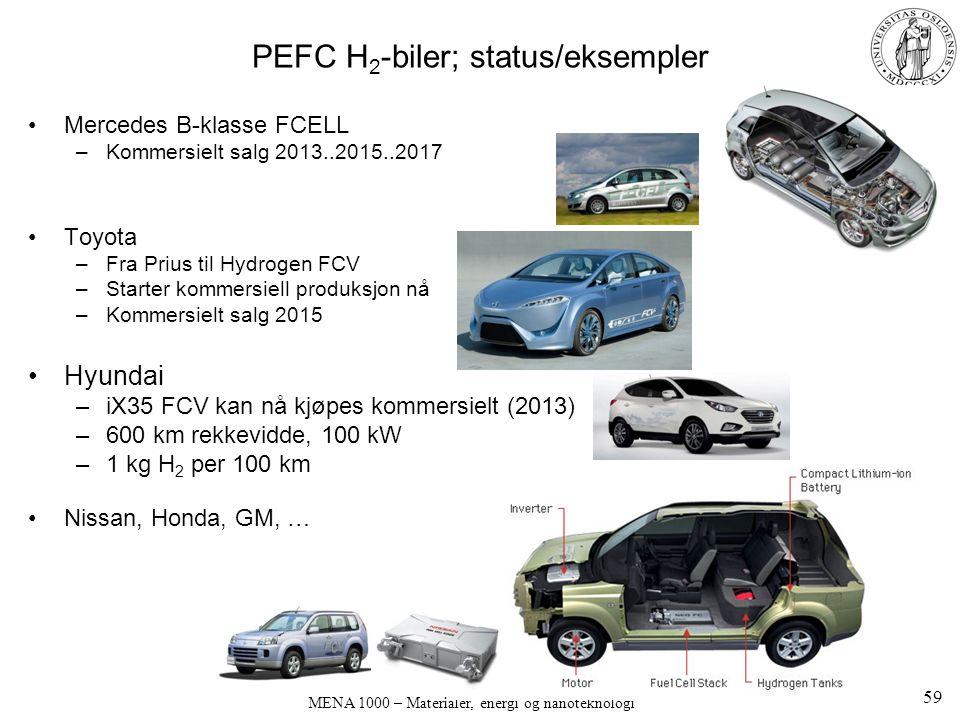 MENA 1000 – Materialer, energi og nanoteknologi PEFC H 2 -biler; status/eksempler Mercedes B-klasse FCELL –Kommersielt salg 2013..2015..2017 Toyota –Fra Prius til Hydrogen FCV –Starter kommersiell produksjon nå –Kommersielt salg 2015 Hyundai –iX35 FCV kan nå kjøpes kommersielt (2013) –600 km rekkevidde, 100 kW –1 kg H 2 per 100 km Nissan, Honda, GM, … 59
