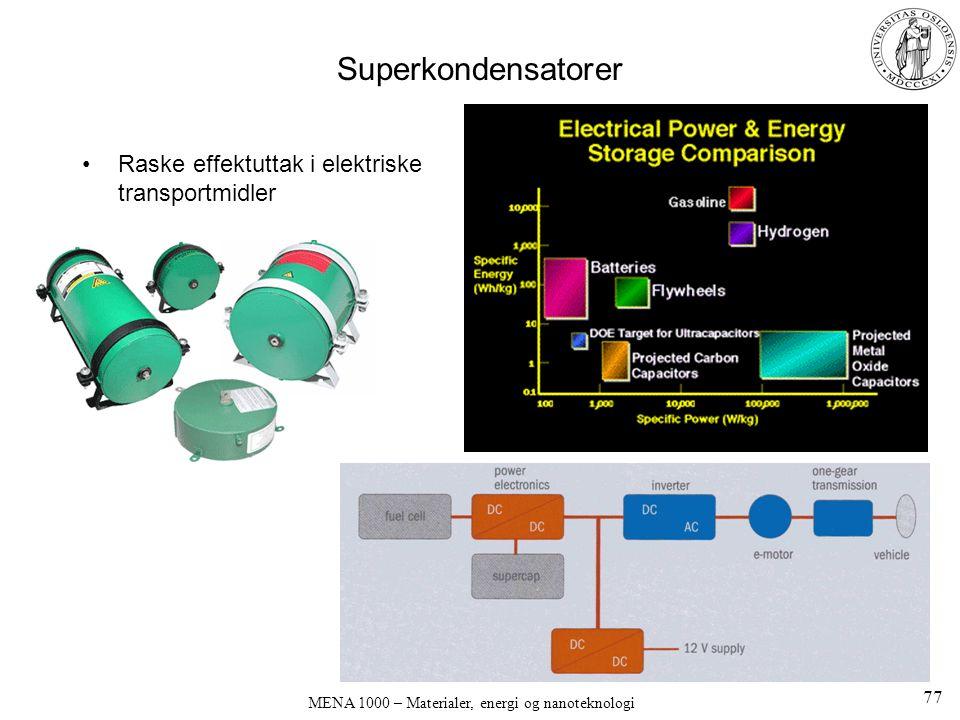 MENA 1000 – Materialer, energi og nanoteknologi Superkondensatorer Raske effektuttak i elektriske transportmidler 77