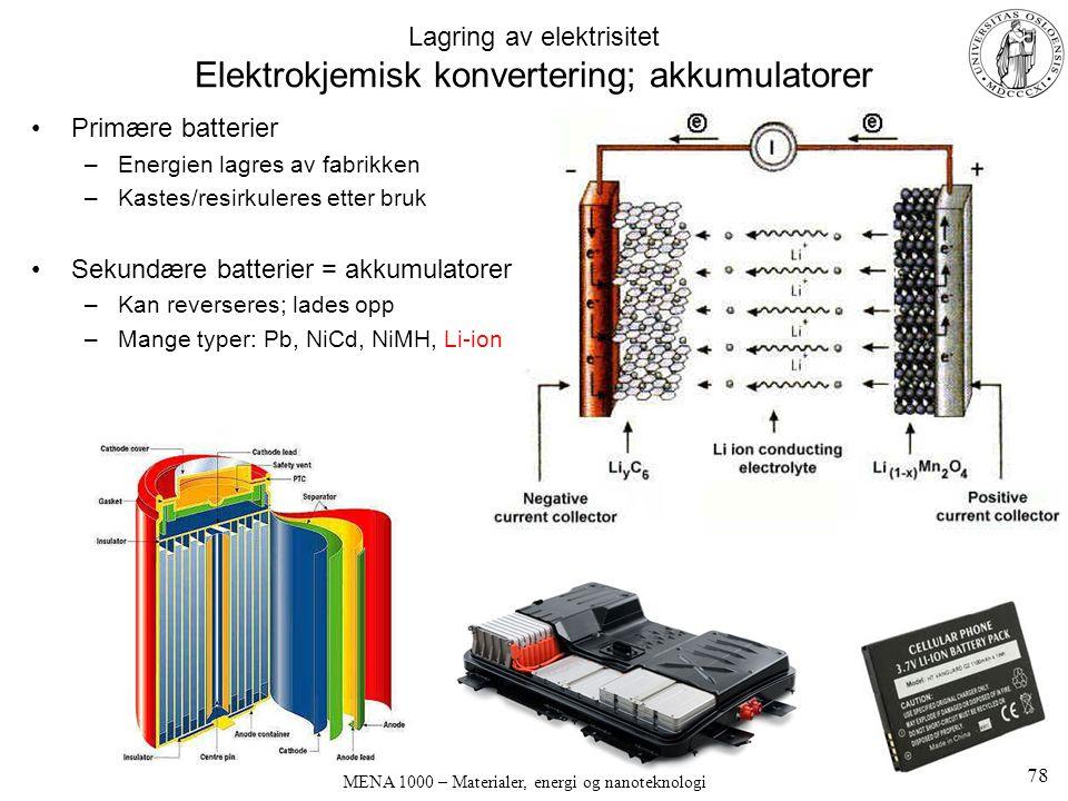 MENA 1000 – Materialer, energi og nanoteknologi Lagring av elektrisitet Elektrokjemisk konvertering; akkumulatorer Primære batterier –Energien lagres av fabrikken –Kastes/resirkuleres etter bruk Sekundære batterier = akkumulatorer –Kan reverseres; lades opp –Mange typer: Pb, NiCd, NiMH, Li-ion 78
