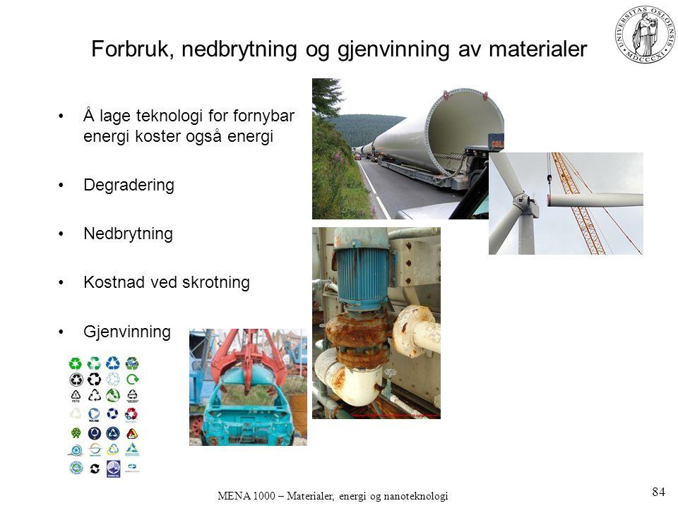 MENA 1000 – Materialer, energi og nanoteknologi Forbruk, nedbrytning og gjenvinning av materialer Å lage teknologi for fornybar energi koster også energi Degradering Nedbrytning Kostnad ved skrotning Gjenvinning 84