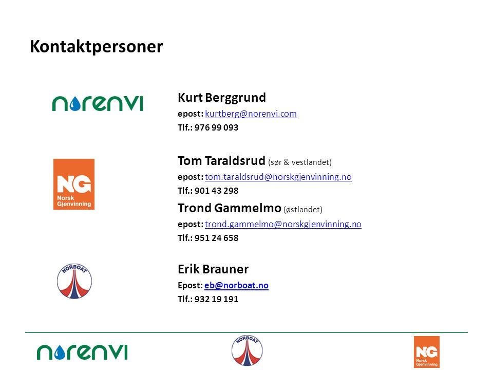 Kontaktpersoner Kurt Berggrund epost: kurtberg@norenvi.comkurtberg@norenvi.com Tlf.: 976 99 093 Tom Taraldsrud (sør & vestlandet) epost: tom.taraldsru