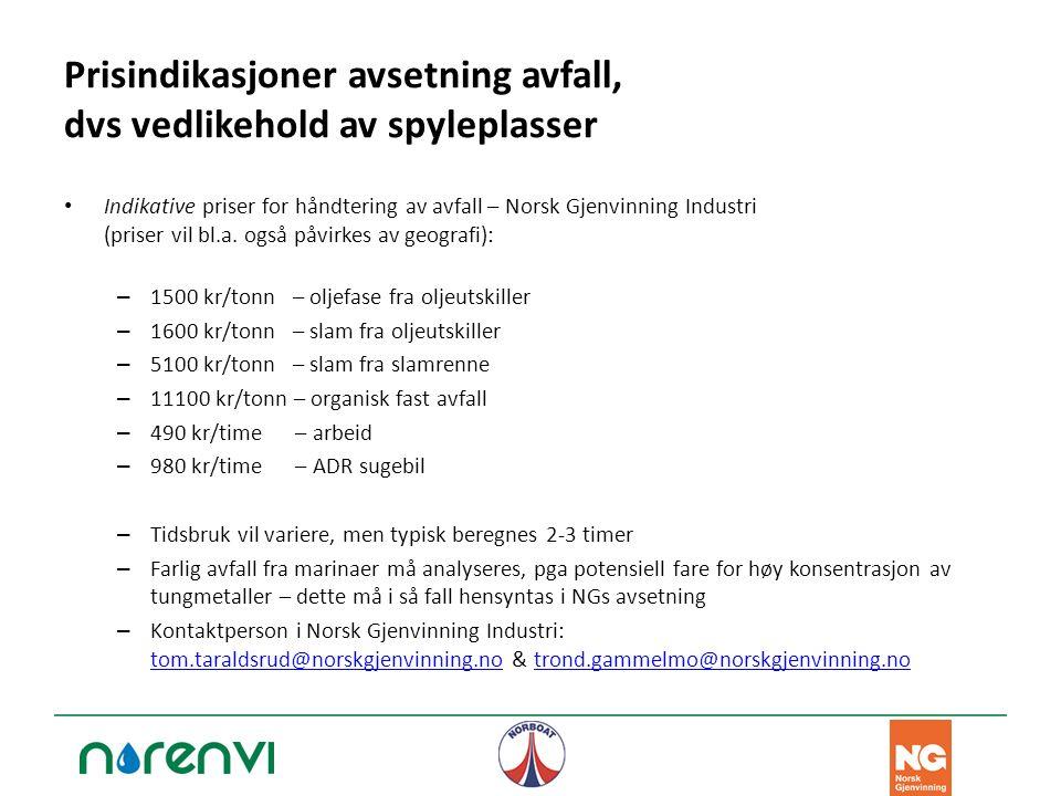 Prisindikasjoner avsetning avfall, dvs vedlikehold av spyleplasser Indikative priser for håndtering av avfall – Norsk Gjenvinning Industri (priser vil bl.a.