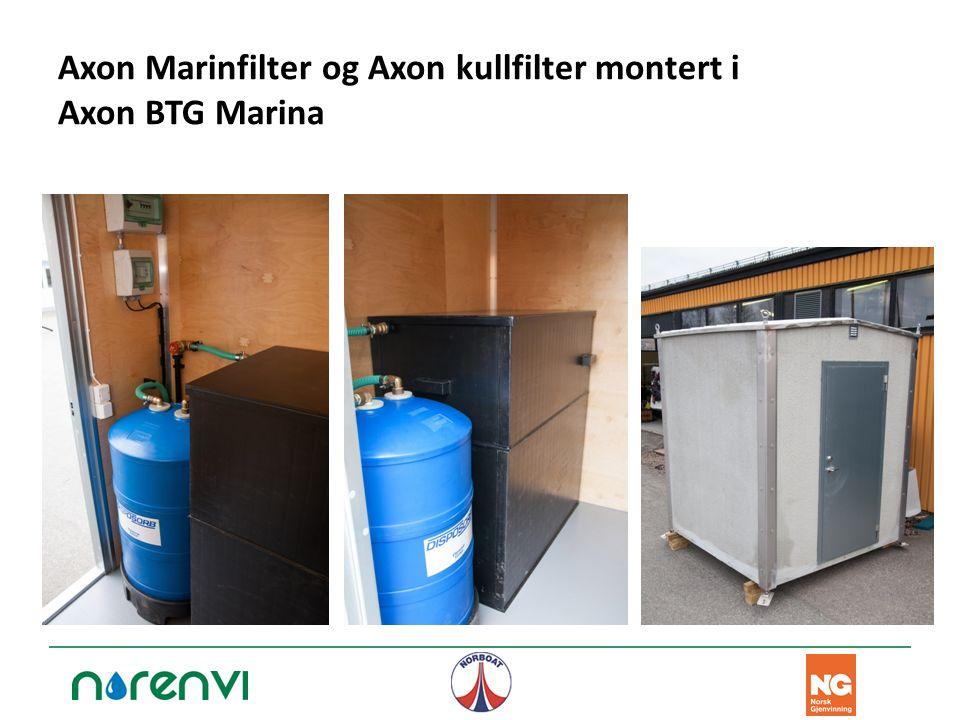 Axon Marinfilter og Axon kullfilter montert i Axon BTG Marina