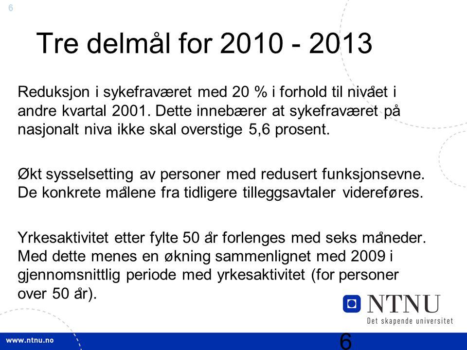6 Tre delmål for 2010 - 2013 Reduksjon i sykefraværet med 20 % i forhold til niva ̊ et i andre kvartal 2001. Dette innebærer at sykefraværet på nasjon