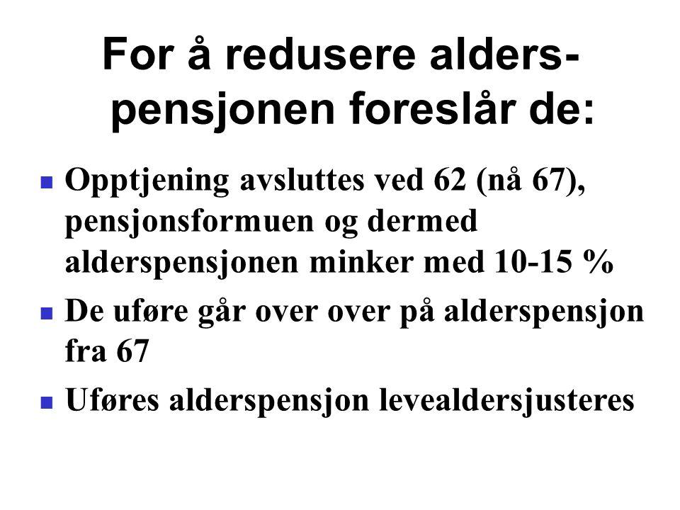 For å redusere alders- pensjonen foreslår de: Opptjening avsluttes ved 62 (nå 67), pensjonsformuen og dermed alderspensjonen minker med 10-15 % De uføre går over over på alderspensjon fra 67 Uføres alderspensjon levealdersjusteres