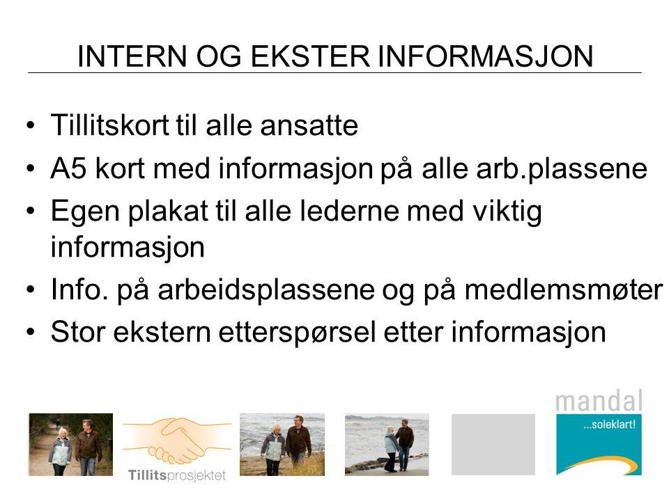 INTERN OG EKSTER INFORMASJON Tillitskort til alle ansatte A5 kort med informasjon på alle arb.plassene Egen plakat til alle lederne med viktig informasjon Info.