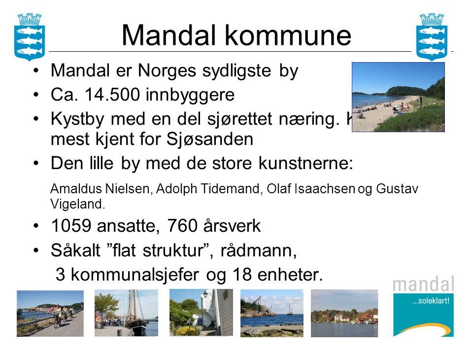 Mandal er Norges sydligste by Ca. 14.500 innbyggere Kystby med en del sjørettet næring.