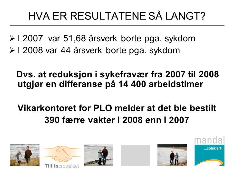 HVA ER RESULTATENE SÅ LANGT.  I 2007 var 51,68 årsverk borte pga.