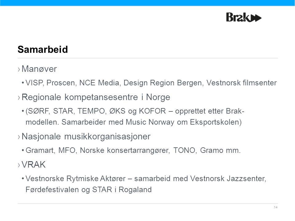 14 ›Manøver VISP, Proscen, NCE Media, Design Region Bergen, Vestnorsk filmsenter ›Regionale kompetansesentre i Norge (SØRF, STAR, TEMPO, ØKS og KOFOR – opprettet etter Brak- modellen.