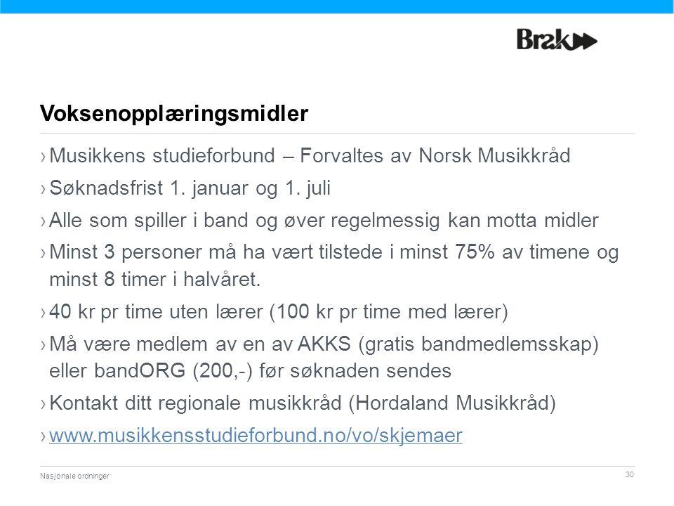 30 ›Musikkens studieforbund – Forvaltes av Norsk Musikkråd ›Søknadsfrist 1.